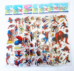 Wholesale Spiderman For Kids - stickers for kids spiderman stickers kids stickers adhesive Japanese anime stickers children puffy stickers kids rewards kids gift kids toy
