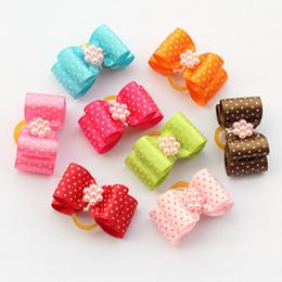 Wholesale Dot Stores - Armi store Handmade Wavelet Point Pearl Flower Ribbon Pet Bow 22046 Dog Bows Supplies Wholesale