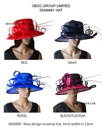 Wholesale Sinamay Hat Kentucky - Wide brim Sinamay Hats for church wedding Kentucky Derby races party.fuchsia black,ivory black,royal,red