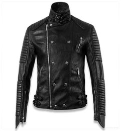 Wholesale Genuine Leather Biker Jacket - Fall-Skull Homem Motorcycle Mens Biker Jackets Famous Brand Genuine Leather Jacket Jaqueta Couro Men Coat Punk Style plus XXXL