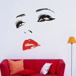 Wholesale Large Lip Stickers - DIY Beautiful CHERYL COLE Face Eyes And Lips Wall Art Sticker Painting Room Home Decoration Finished Size 58x60cm 96x100cm
