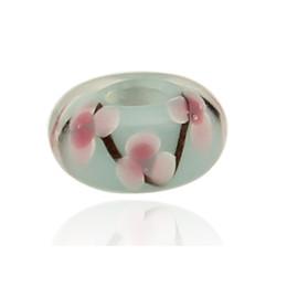 Canada Pas de noyau en métal de vente de gros trou bleu fleur de verre de Murano perle au chalumeau Fit Bracelet Charme Pandora Offre