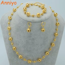Wholesale Ethiopian Earrings - Anniyo Beads Jewelry sets Ball Necklaces Earrings Bracelet Gold Color Beaded Women Arab Jewelry Africa Ethiopian #020606