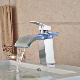 Wholesale New Bathroom Led Tap Lights - Glass LED Light Water Spout Bathroom Vessel Sink Mixer Taps Chrome Finish New Arrival