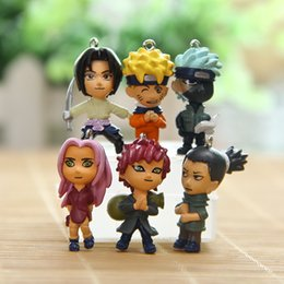 Wholesale Miniature Figures Set - 6designs set cartoon Naruto Toppers Doll PVC Gnomes Action Figures Toy Fairy Garden Miniatures Craft for Christmas Birthday Gift