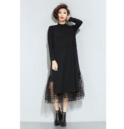 Wholesale Large Sleeve Dress - 2016 Europe and large size women stitching wave point gauze dress fake two high-necked long-sleeved spring subsemigroups