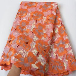 Wholesale Handcut Laces - Orange Big African Handcut organza lace fabric with allover sequins metallic lurex 5 yards 7101