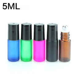 Wholesale Mini Green Glass Bottles - Wholesale Thick 5ml PINK  AMBER  BLACK Green MINI Empty Roll on Glass Bottles for Essential Oil Bottle Metal Roller ball 300PCS LOT Free DHL