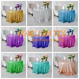 Wholesale White Polyester Tablecloths Round - Hot Sale Sequin Table Cloth For Party And Event Decoration \ Cheap Wedding Tablecloth Door to Door Shipping