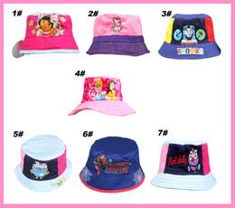 Wholesale Colorful Bucket Hats - 2014 new arrivel kids fisherman hat Cute Cartoon Kids Caps Lovely Sun Hat Colorful Baby Bucket Hats Canvas Children Beanie 7 Designs