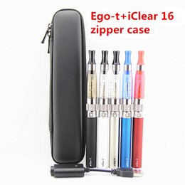 Wholesale Super Ego - e cigarettes Ego kit with USB Ego t+iClear 16 zipper case 650mah 900mah ego-t battery Super CE4 atomizer with replaceable wick