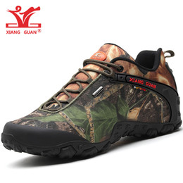 Wholesale winter hunting camouflage - XIANGGUAN Men Waterproof Hiking Shoes For Women Trekking Tactical Boot Lovers Sport Mountain Shoe Forest Camouflage Outdoor Walking Sneakers