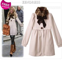 Wholesale Gossip Girl Style Coat - Wholesale-ZENDRESS Gossip Girl Same Style Winter Dress Thick Woolen Winter Coat Women 2015 New Women Blouses Fur Collar Winter XL Dress