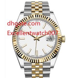 Wholesale 18kt gold watches - (8 color)NEW 2017 High Quality Luxury Brand 41mm 18kt Gold & Stainless DateJust White Index 126333 AutomaticMechanical Men's Watch Watches