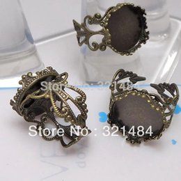 Wholesale Antique Ring Base - For 20mm Round Cabochon Antique Bronze Filigree Flower and Crown Edge Adjustable Ring Base Blank DIY Setting