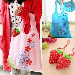 Wholesale Fabric Grocery Bags - Hot Eco Storage Handbag Strawberry Foldable Shopping Bags Reusable Folding Grocery Nylon Large Bag 8 colors