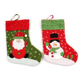 Wholesale Solid Acrylic Ornaments - dhl 120pcs lot 12*26cm Santa Socks Christmas socks Ornaments Costume Christmas Stockings New arrival Christmas decorations