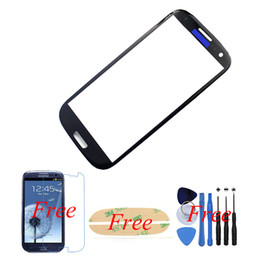 Wholesale Glass S3 Original - Wholesale-1pcs Black For Samsung Galaxy S3 Original Front Glass Lens 4.8'' Outer Glass cover Touch Screen Replacement+Tools+Adhesive