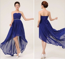 Wholesale Lace Up Turquoise Prom Dresses - New Fashion Short Front Long Back Bridesmaid Dress Under $50 Royal Blue Bridesmaid Dresses For Cheap Turquoise Purple High Low Prom Dresses