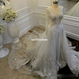 Wholesale Detachable Long Sleeve Bridal - Vintage Sheath Wedding Dresses With Detachable Train Sheer Neckline Lace And Tulle Wedding Gowns Illusion Long Sleeves Bridal Dress