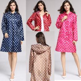 Wholesale Dot Raincoat - Polka Dot Style Girl Lady Hooded Raincoat Women Outdoor Travel Waterproof Riding Cloth Rain Coat Poncho Long Rainwear CCA7913 30pcs