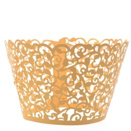 Wholesale Laser Cut Cupcake Collars - Wholesale-120pcs Laser Cut Gold Lace Wedding Cupcake Wrapper Filigree Vine Wraps Collars Cups Bridal Shower Party Table Decoration
