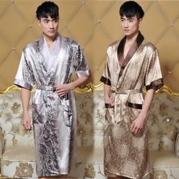 Wholesale Hot Men Bathrobes - Wholesale-Mens Silk Kimono Kimono Hombre Mens Silk Bathrobe Men Sexy Robe Bathrobe Dressing Gown Lounge Robe Men Size XL XXXL Hot saleL181