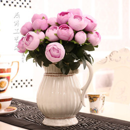 Wholesale Silk Rose Bud Heads - Free shipping 12 heads 2 bouquet tea rose bud silk flower artificial flower for home decoration wedding decorative flower bouquet