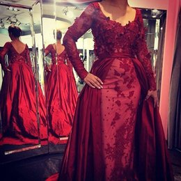 Wholesale Elie Saab Mermaid Wedding Dresses - 2016 Elie Saab Dark Red Evening Dress with Long Sleeves Detachable Arabic Party Applique Bridal Red Carpet Prom Dress Wedding Gowns
