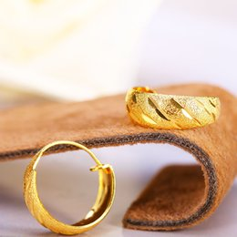 Wholesale Wedding Dresses Wholesale Prices - 24K Gold Plated Earrings Hoop Brand New Luxury For Women Wedding Dressed Charms Fine Jewelry Copper Wholesale Price Hot Sale Free Shipping