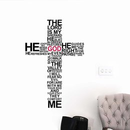 Wholesale Christian Stickers - Christian Religious Cross Vinyl Quote Wall Decal Home Decor GOD Wall Art Wall Stickers