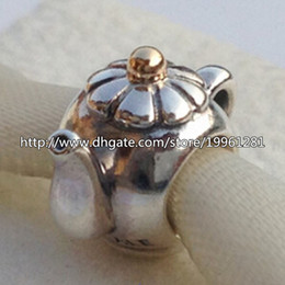 Wholesale Teapot Charm Gold - High-quality 925 Sterling Silver & 14K Real Gold Teapot Charm Bead Fit European Pandora Style Jewelry Bracelets Necklaces