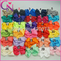 "Wholesale Classic Baby Hair Clips - 30 Pcs lot 4"" Solid Hair Bow With Clip For Baby Boutique Ribbon Hair Bow For Kids Classic Baby Hair Bow 30 Colors"