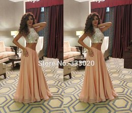 Wholesale Modern Stages - 2017 Arabic Queen of Stage Myriam Fares Dresses Crystals Beaded Formal Celebrity Evening Gown Sparkly Two Piece Prom Dresses Luxury