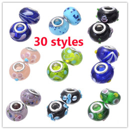 Wholesale 30 Styles Big Hole Lampwork Murano Glass Beads Charms Loose Beads For Pandora Bracele Necklace DIY Jewelry Findings Components Supplies
