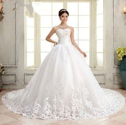 Wholesale Strapless Big Long Wedding Dresses - New White or Ivory Bride Gown Wedding Dress Long Big Tail Empire Strapless Wedding Dresses