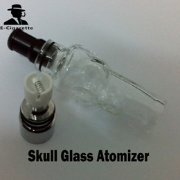 Wholesale Electronic Pipe Clearomizer - Skull Glass Tank Atomizer Dry Herb Vaporizer Solid Smoke Oil Detachable Clearomizer For eGo Electronic Cigarette Vs Water Pipe Glass