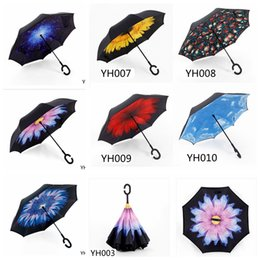 Wholesale Special Shape - Special Design Creative Inverted Umbrellas C-shape Handle Non Automatic Paraguas Rain Umbrella Sunny Inverted Umbrellas YH001-YH025