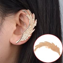 Wholesale Bohemian Feather Cuffs - 12pcs Hot Fashion Single Girl ear cuff earrings Angel Wings feather golden ear clips for women left ear Punk Jewelry Gift Free