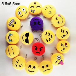 Wholesale Cell Stuff - Key Chains 2 inch Emoji Smiley Small pendant Emotion Yellow QQ Expression Stuffed Plush doll toy Emoji Cell Straps Charms Bag Pendant 0077HW