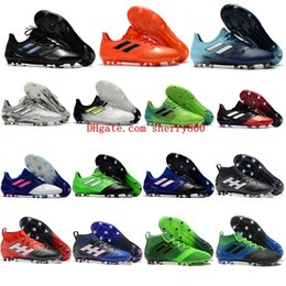 Wholesale Blackout Football - 2018 mens soccer cleats ACE 17.1 Leather FG football boots ace 17 PureControl FG soccer shoes blackout cheap high quality size 39-46