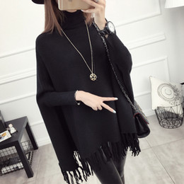 Wholesale Thick Poncho Sweater - Wholesale- Winter Batwing Long Sweater Poncho Women Coat Ponchos Mujer 2017 Turtleneck Women Sweaters Tassel Pullovers Jumper Pullover