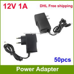 Wholesale Plugs 12v - High Quality 50pcs AC 100V~240V to DC Power supply 12V 1A adapter adaptor US   EU -EU Plug DHL Free shipping