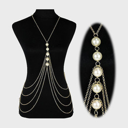 Wholesale Multi Layer Necklace Body Chain - Elegant Tassels Shoulder Neckchains Multi Layer Pearls Full Body Necklets Epaulet Chains Women's Stage Show Necklaces jj107