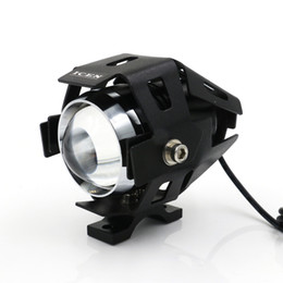 Wholesale Led Motorcycle Head Lamp - 125W 2 Color Motorcycle Fog Spot Headlight 3000LMW Upper Flash CREE U5 LED Driving Head Light Lamp