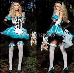 Wholesale Fantasia Blue - women blue uniform fantasy dress alice costume snow white maid cosplay sexy fantasias Costume adult onesie Christmas gift