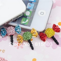 Wholesale Candy Cell Phone Dust Plug - Wholesale-FREE SHIPPING! 12PCS LOT Colorful Rhinestones Cute Candy Mobile Phone Dust Plug Cell Phone Decorations