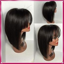 Wholesale Brazilian Virgin Huamn Hair - Beautiful short hair with baby hair high quality stright full lace huamn hair wig