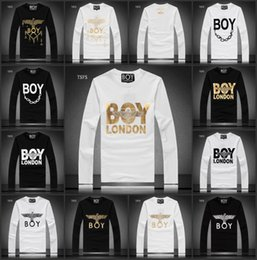 Wholesale Gold Eagle Chain - Fashion 2015 Autumn Winter BOY LONDON chain eagle men's Long Sleeve For Men Luxury Casual Slim long sleeve Tees & Polos Fit Stylish T-shirts