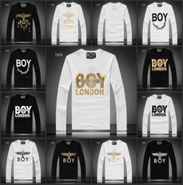 Wholesale White Cotton Eagle Print Shirt - Fashion 2015 Autumn Winter BOY LONDON chain eagle men's Long Sleeve For Men Luxury Casual Slim long sleeve Tees & Polos Fit Stylish T-shirts